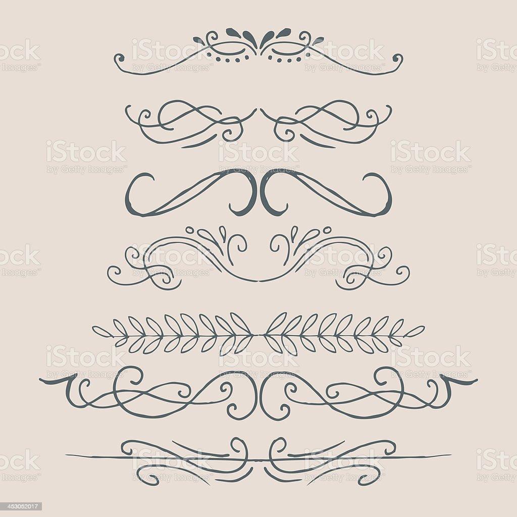 Hand drawn ornate design elements royalty-free stock vector art
