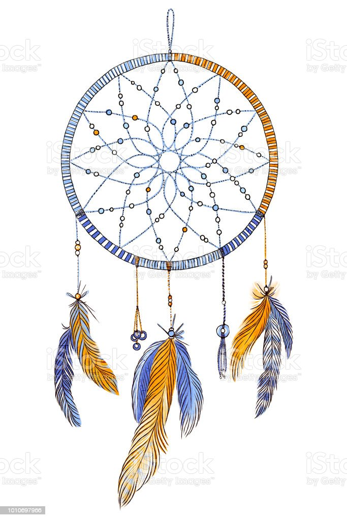 Hand Drawn Ornate Dream Catcher With Feathers In Soft Trendy Colors
