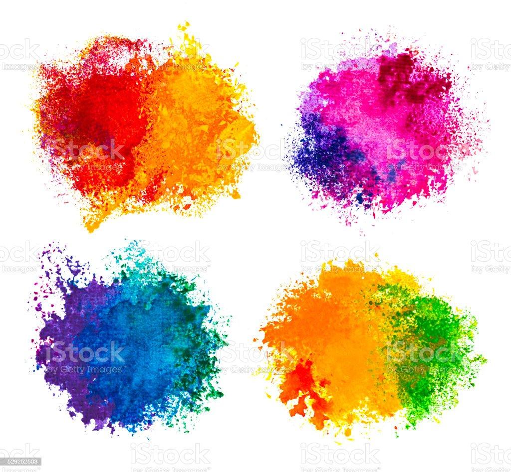 Hand drawn paint splashes isolated on white vector art illustration
