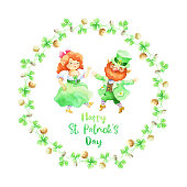 Hand drawn Patricks day design on a white background. Watercolor painting.