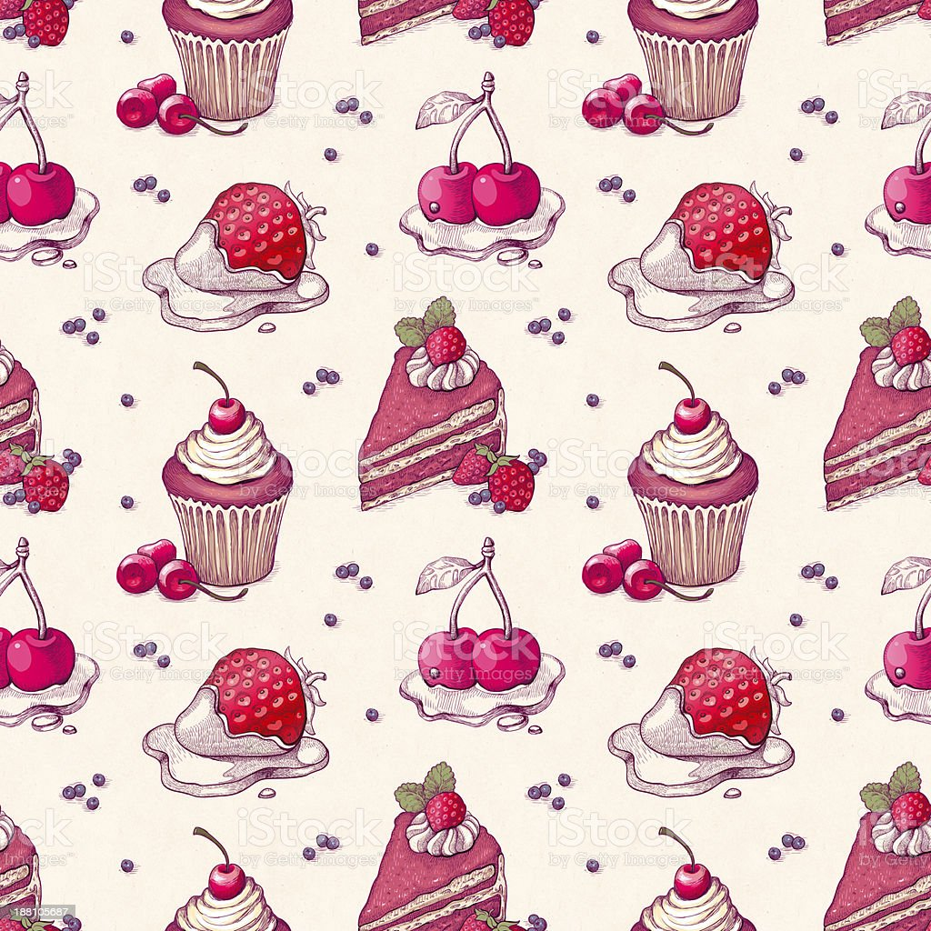 Hand drawn pattern with cake illustrations royalty-free stock vector art