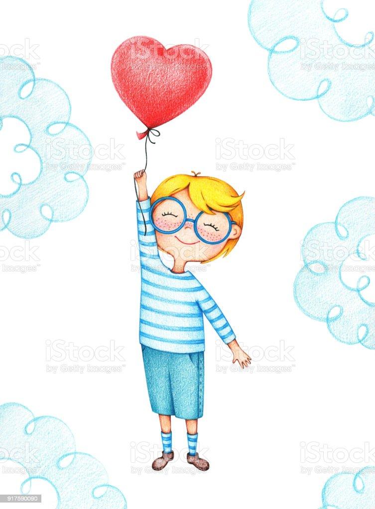 Ilustración de Mano Dibuja La Imagen De Niño Volando Con El Globo ...