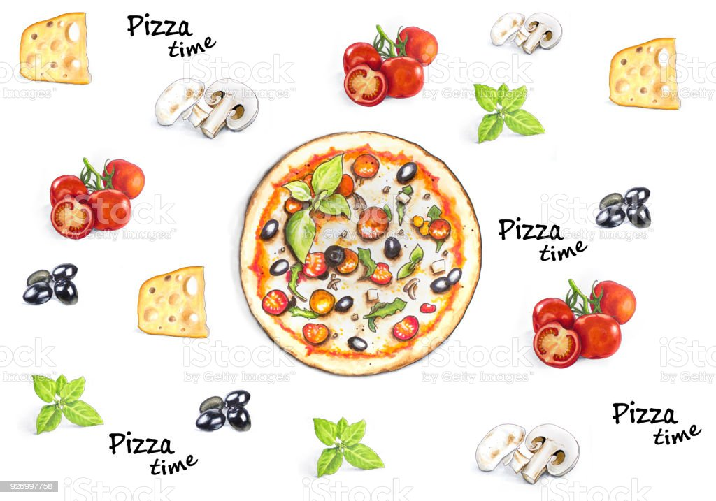 Hand drawn Pizza time background with pizza ingridients vector art illustration