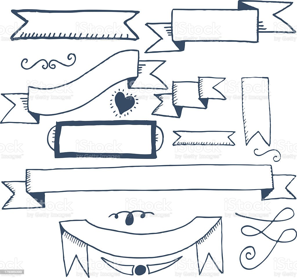 hand drawn ribbon banners royalty-free stock vector art