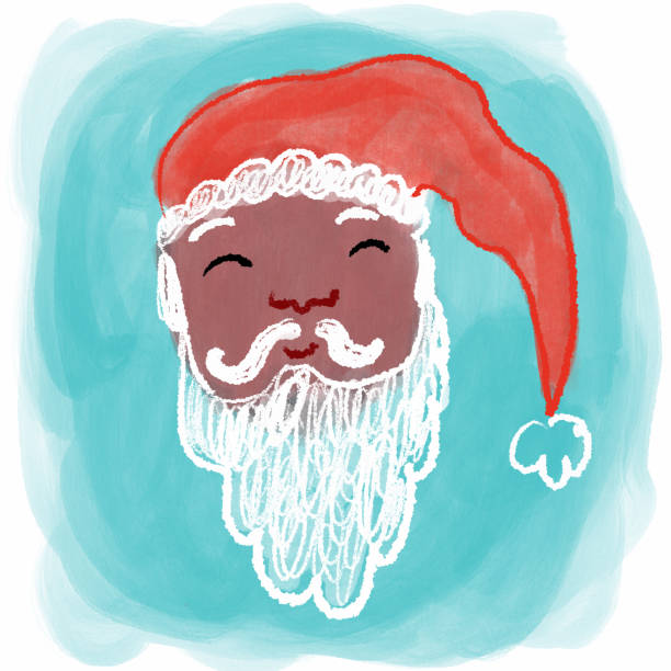 Hand Drawn Sant face Hand Drawn Santa Face with blue background kathrynsk stock illustrations