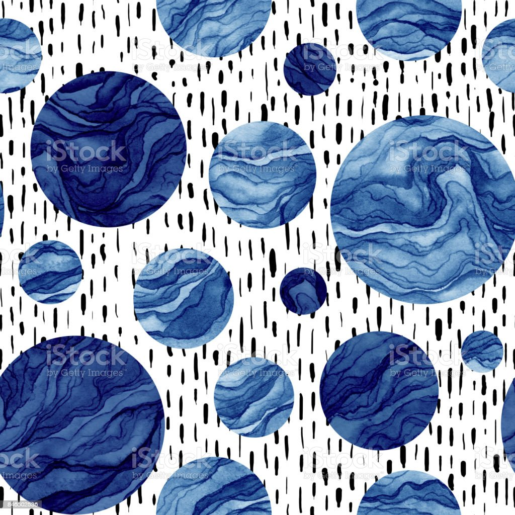 Hand Drawn Seamless Pattern of Watercolor Deep Blue Circles vector art illustration