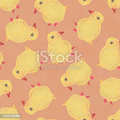 istock Hand Drawn Seamless Pattern With Little Yellow Chick. 1345762060