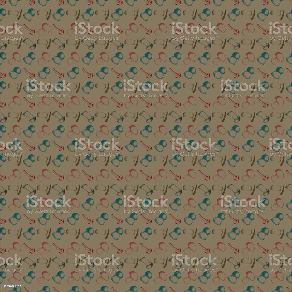 手繪製無縫模式與蘑菇 免版稅 手繪製無縫模式與蘑菇 向量插圖及更多 一組物體 圖片