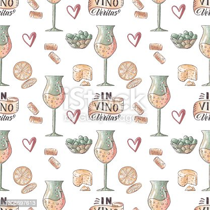 istock Hand drawn seamless pattern with wine glasses, olives, and latin lettering in vino veritas 1308697613