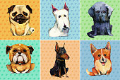Hand drawn set of six watercolor dogs on dotted background