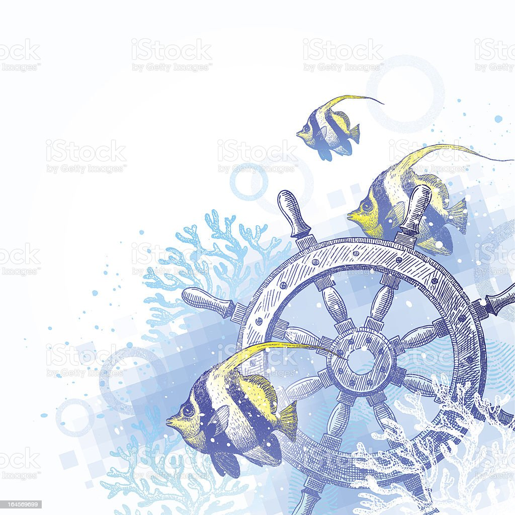 Hand drawn ship steering wheel, corals and tropical fishes royalty-free hand drawn ship steering wheel corals and tropical fishes stock vector art & more images of adventure