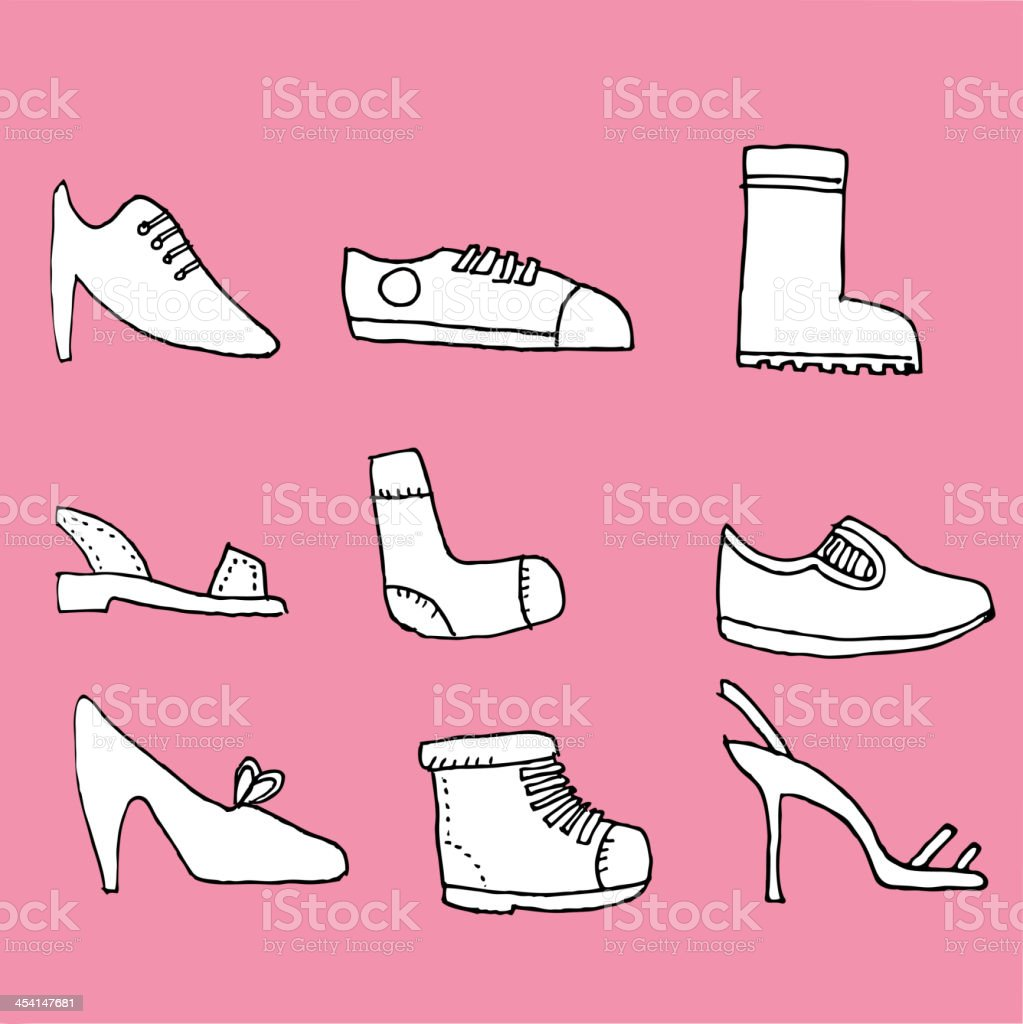 Hand drawn shoes royalty-free stock vector art