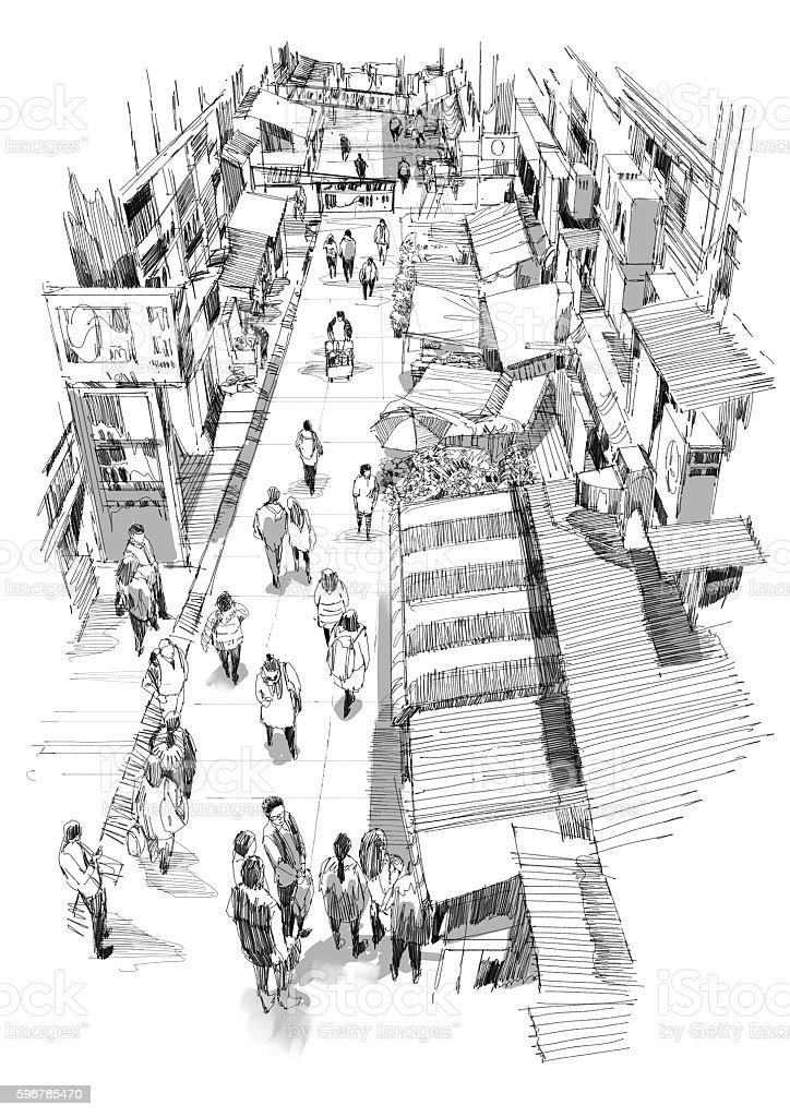 hand drawn sketch of people walking in market street vector art illustration