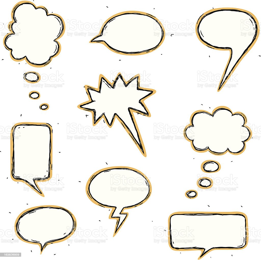 Hand drawn style of several speech bubbles royalty-free stock vector art