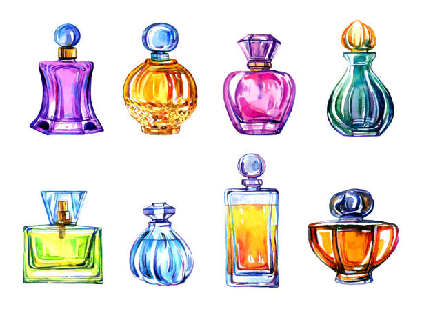 hand drawn stylized watercolor set of different women perfume bottles isolated - perfumy stock illustrations