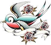 hand drawn swallow tattoo