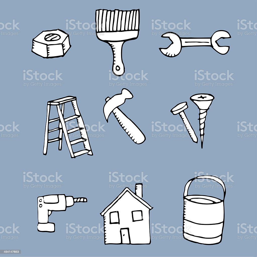 Hand drawn tool icons royalty-free stock vector art