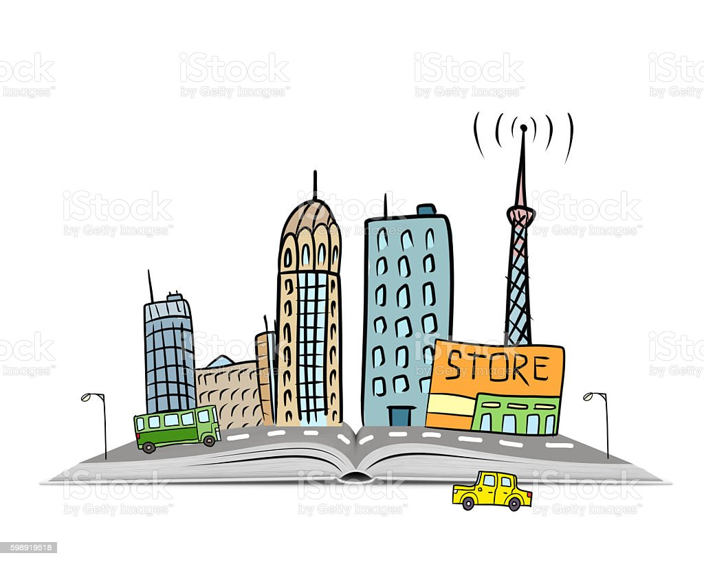 Royalty Free Street City View Draw Sketch Shops Colorful Buildings