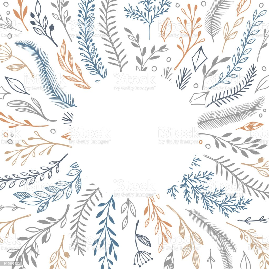 Hand Drawn Vector Illustration Winter Frame With Floral Elements ...