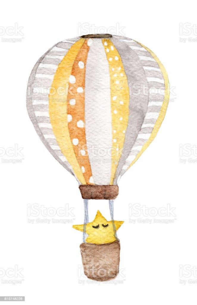 El çekilmiş Vintage Hava Balon Gökyüzünde Yıldız Uçan Ile Stok