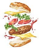 istock Hand drawn watercolor burger isolated on white background. Watercolour flying fast food illustration. 1282431906