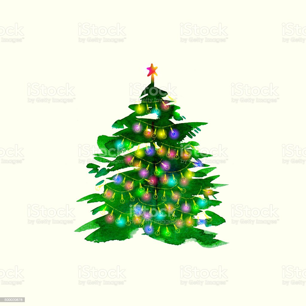 Watercolour Christmas Tree: Hand Drawn Watercolor Christmas Tree With Christmas Lights