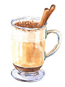 istock Hand drawn watercolor coffee in a tall glass, with cinnamon, isolated on white background. Food delicious illustration. 1282018983