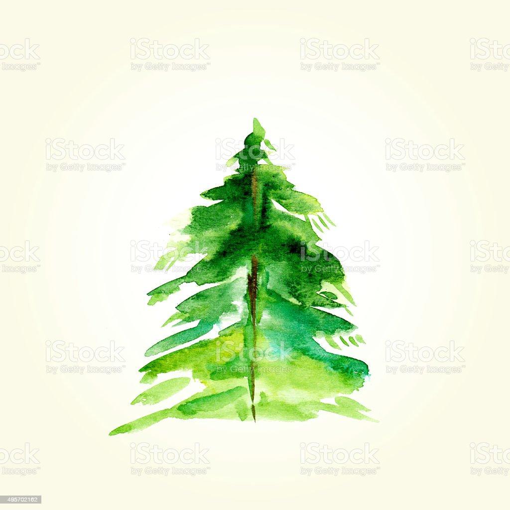 Disegno A Mano Ad Acquerello Abete Albero Di Natale Carta Immagini