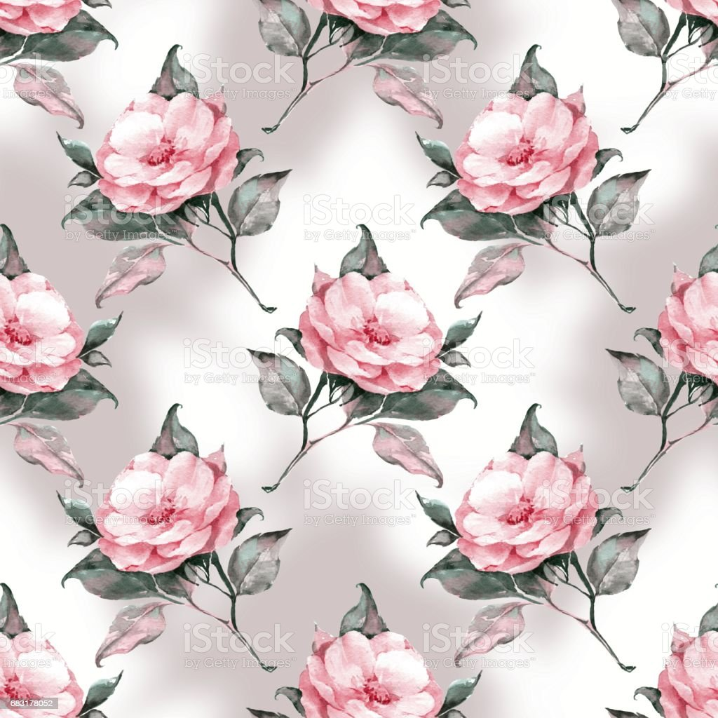 Hand drawn watercolor floral seamless pattern with pink flowers royalty-free hand drawn watercolor floral seamless pattern with pink flowers stock vector art & more images of art