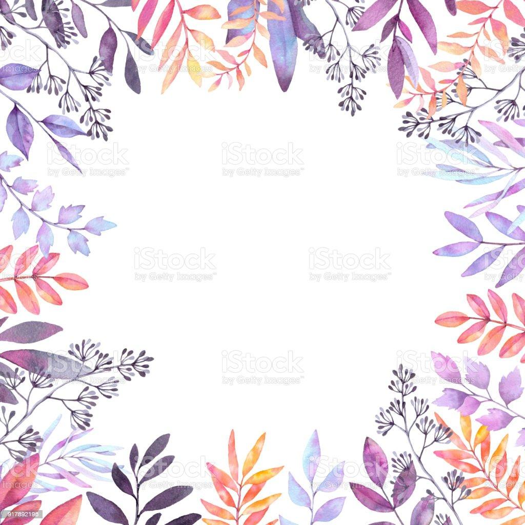 Handgezeichnete Aquarell Abbildung Herbstbotanischen Clipart Rahmen ...