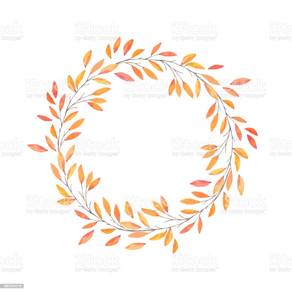 Hand drawn watercolor illustration. Autumn Wreath. Fall leaves. Perfect for wedding invitations, greeting cards, blogs, prints and more vector art illustration
