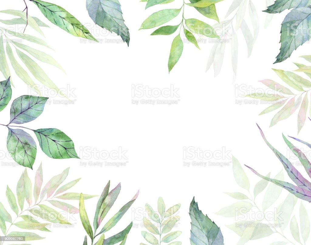 手描き水彩イラスト。植物アート。緑の葉、ハーブ、枝のあるフレーム。花のデザイン要素です。完璧な結婚式の招待状、グリーティング カードの印刷します。 ベクターアートイラスト