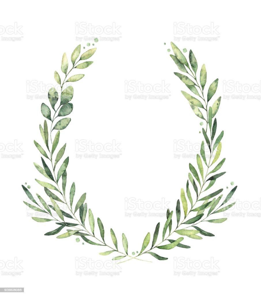 Hand drawn watercolor illustration. Botanical wreath of green branches and leaves. Spring mood. Floral Design elements. Perfect for invitations, greeting cards, prints, posters, packing vector art illustration