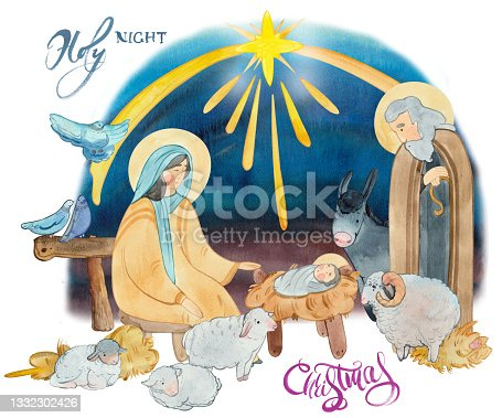 istock Hand drawn watercolor illustration Christian Nativity scene. 1332302426