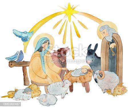 istock Hand drawn watercolor illustration Christian nativity scene. Virgin Mary; Jesus Christ; Joseph; sheep; animals; Star of Bethlehem For Merry Christmas greeting cards; 1332302437