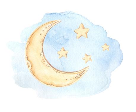 Hand Drawn Watercolor Illustration Good Night Baby Print ...
