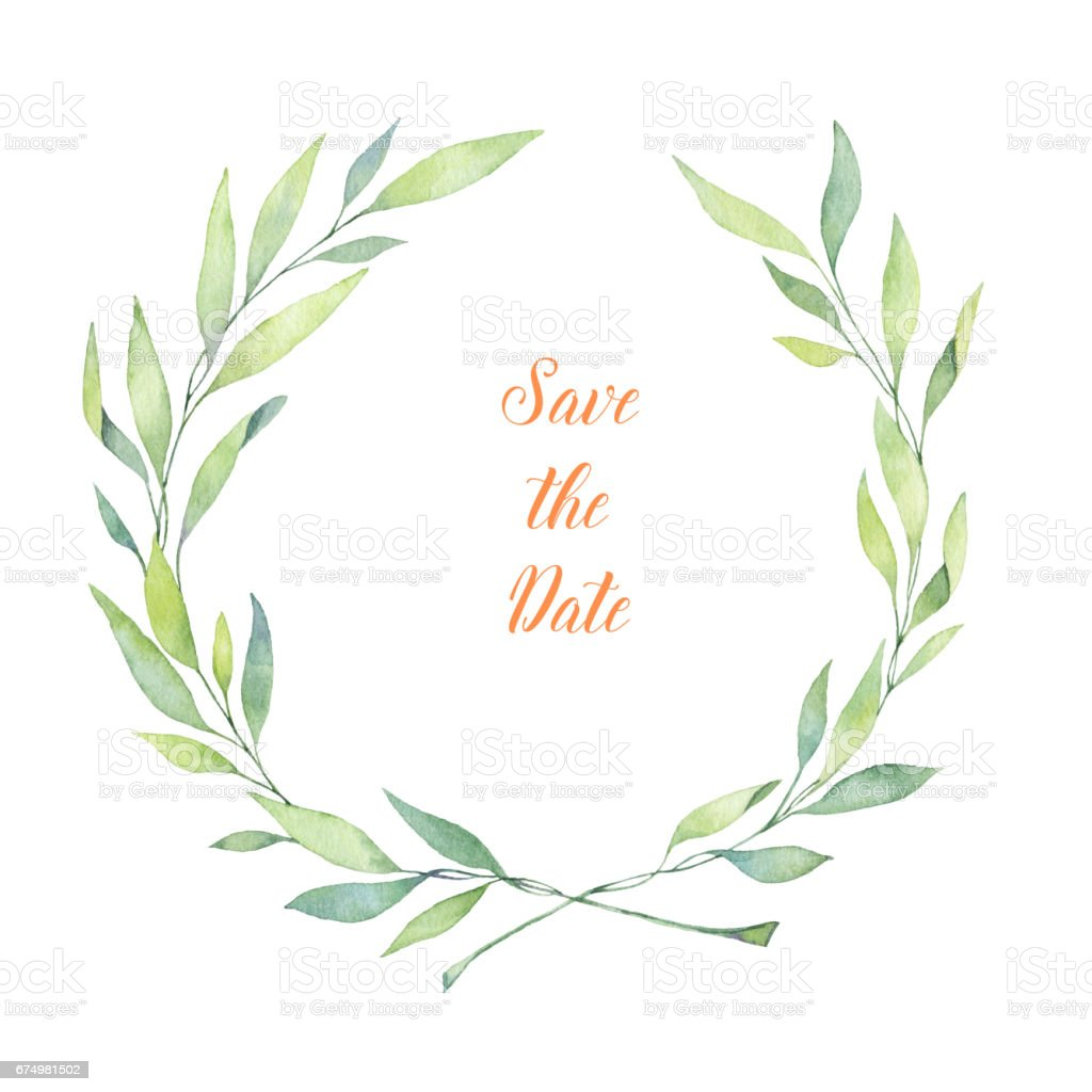 Hand drawn watercolor illustration. Laurel Wreath. Perfect for wedding invitations, greeting cards, blogs, posters and more vector art illustration