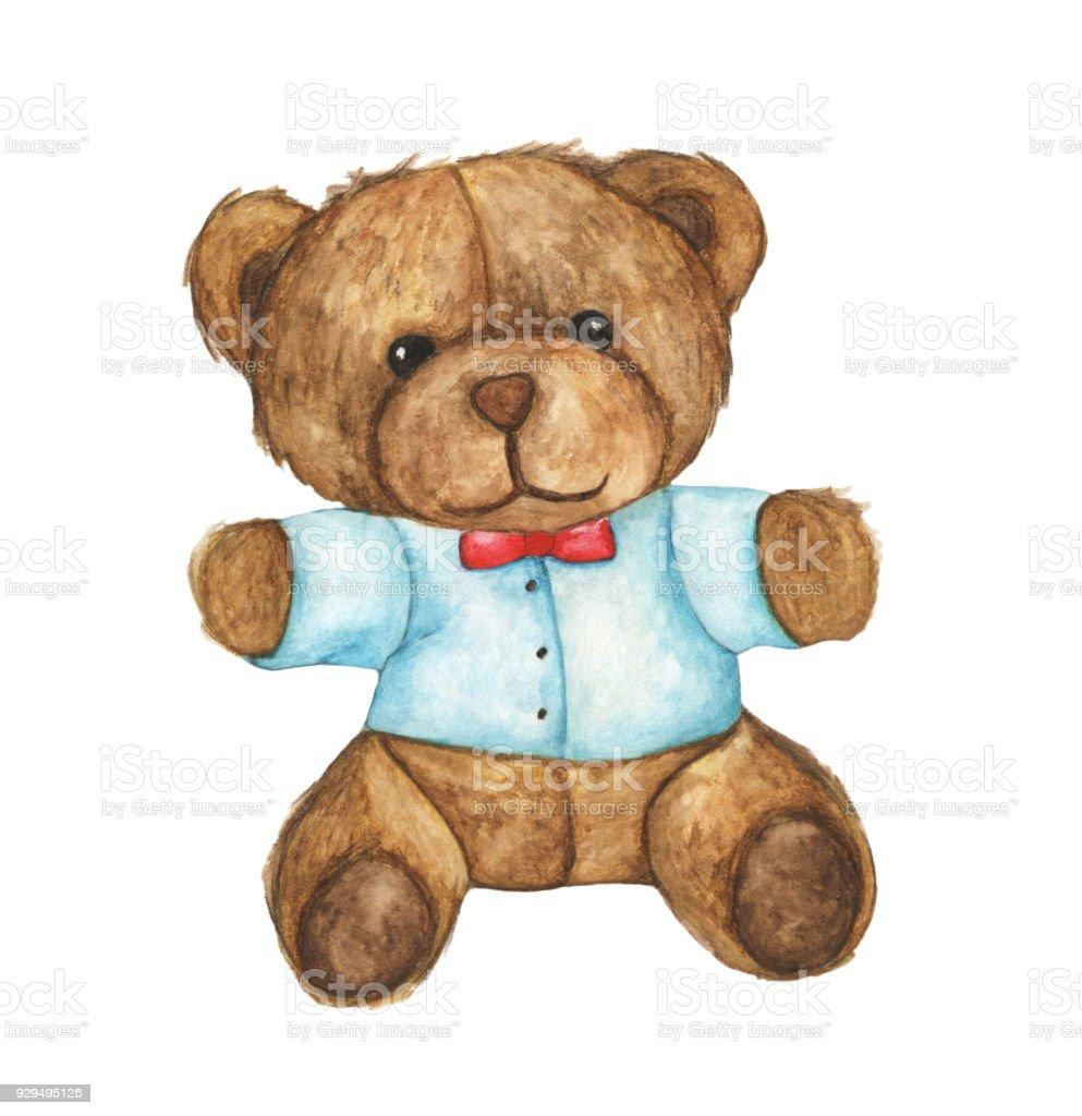 Hand drawn watercolor illustration of teddy bear. Design element for cards, invitations - ilustração de arte vetorial