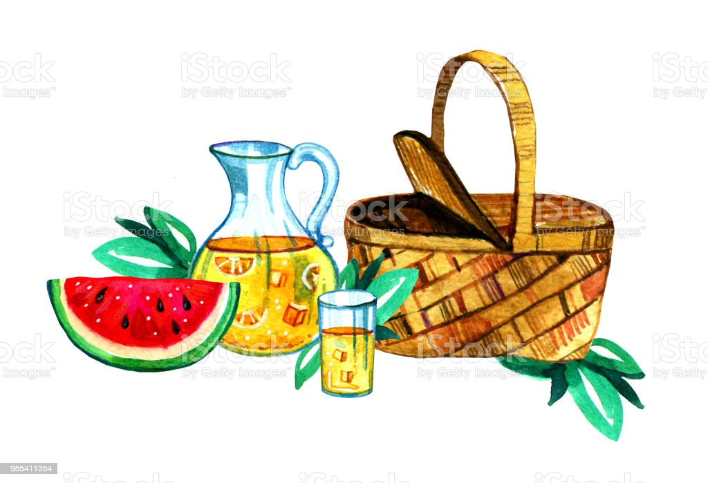 Hand drawn watercolor illustration with basket, lemonade and watermelon. Picnic, summer eating out and barbecue - Zbiór ilustracji royalty-free (Akwarela)