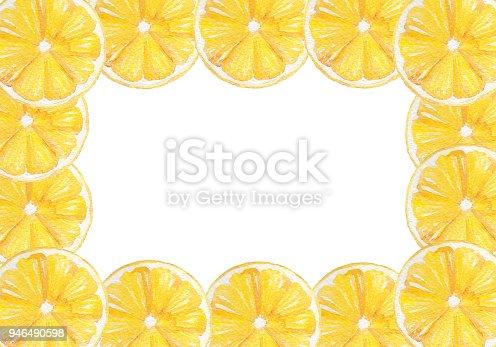Hand Drawn Watercolor Lemon Frame Border Perfect For