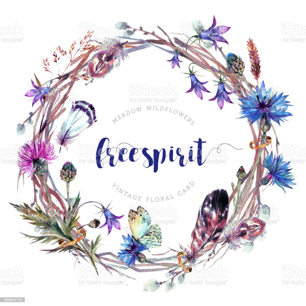 Hand drawn watercolor meadow wildflowers wreath. vector art illustration