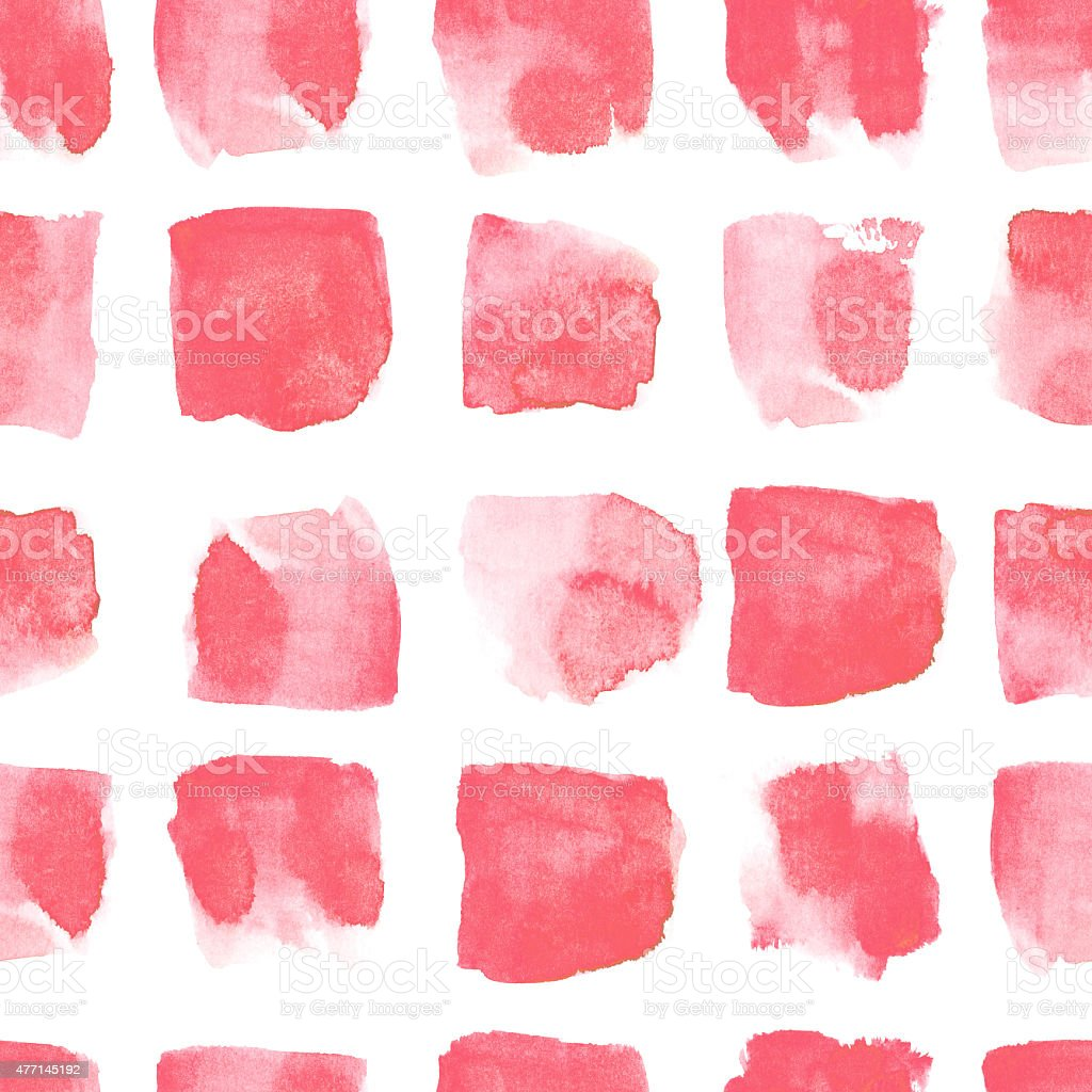 Hand drawn watercolor red stain geometric seamless pattern vector art illustration