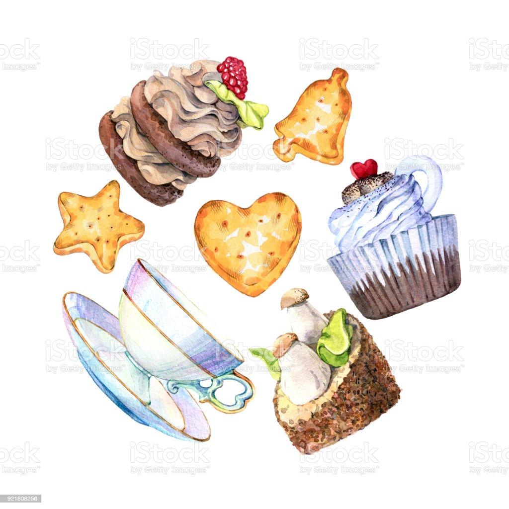 Hand Gezeichnet Aquarellset Kuchen Kekse Und Teetassen Stock Vektor