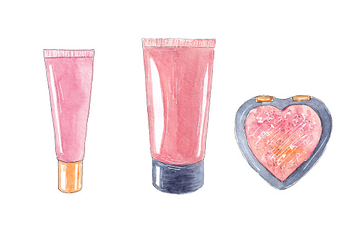 Hand drawn watercolor set of cosmetic and makeup products. Facial cream, powder