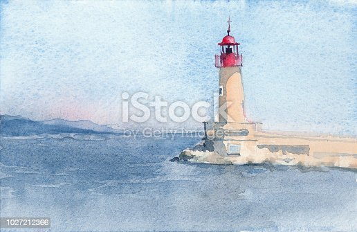 Lighthouse of Saint-Tropez. Hand drawn watercolor sketch. Illustration.