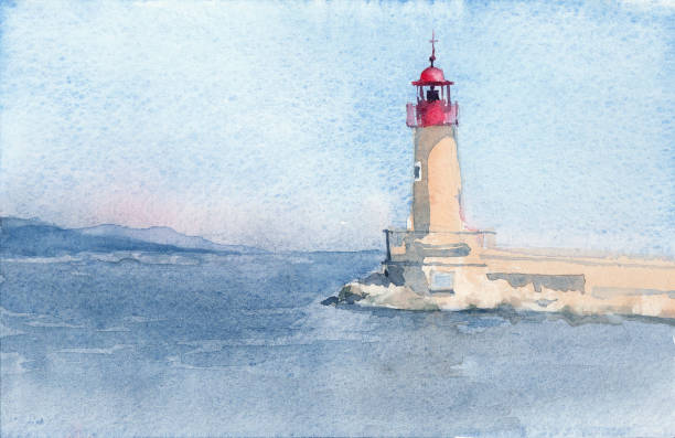 Hand drawn watercolor sketch of Lighthouse of Saint-Tropez. Lighthouse of Saint-Tropez. Hand drawn watercolor sketch. Illustration. lighthouse stock illustrations