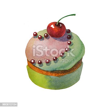 istock Hand drawn watercolor sweets and cakes 960610154
