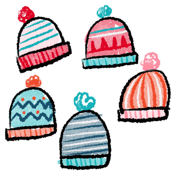 Hand drawn winter beanie hats Group of hand drawn winter hats kathrynsk stock illustrations