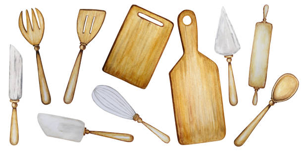 ilustrações de stock, clip art, desenhos animados e ícones de hand drawn wooden kitchen accessories set for baking watercolor illustration isolated on white background. cooking time poster, banner concept. tools spoon, spatula, fork, rolling pin, knife, board - baking bread at home