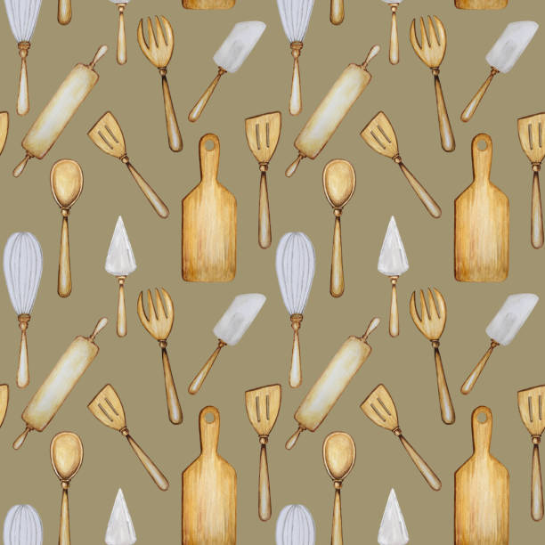 ilustrações de stock, clip art, desenhos animados e ícones de hand drawn wooden kitchen tools seamless pattern. accessories for baking watercolor fabric texture illustration. cooking time poster, banner concept. spoon, spatula, fork, rolling pin, knife, board - baking bread at home
